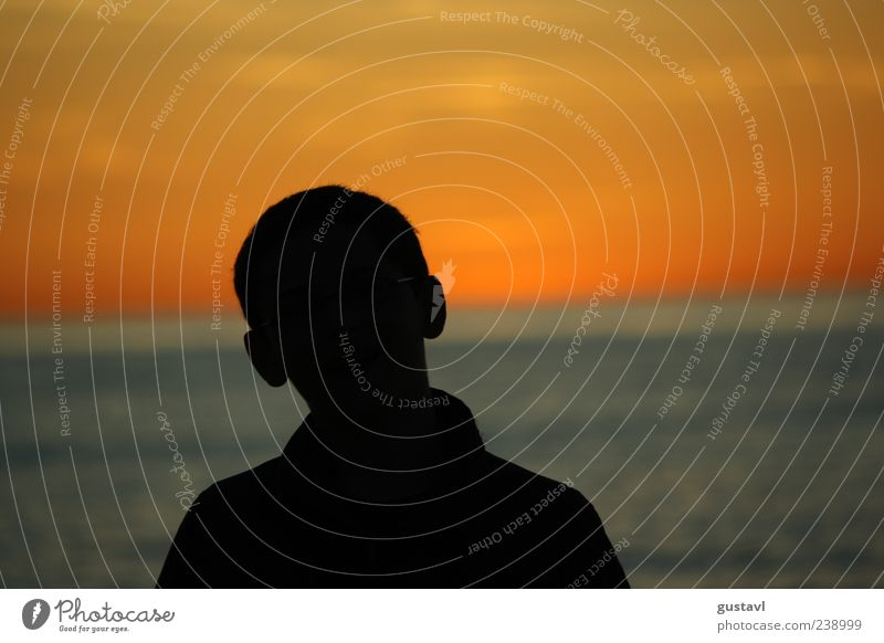 Schatten Mensch maskulin Junger Mann Jugendliche 1 13-18 Jahre Kind träumen warten blau rot schwarz Stimmung Vertrauen Farbfoto Außenaufnahme Abend Sonnenlicht