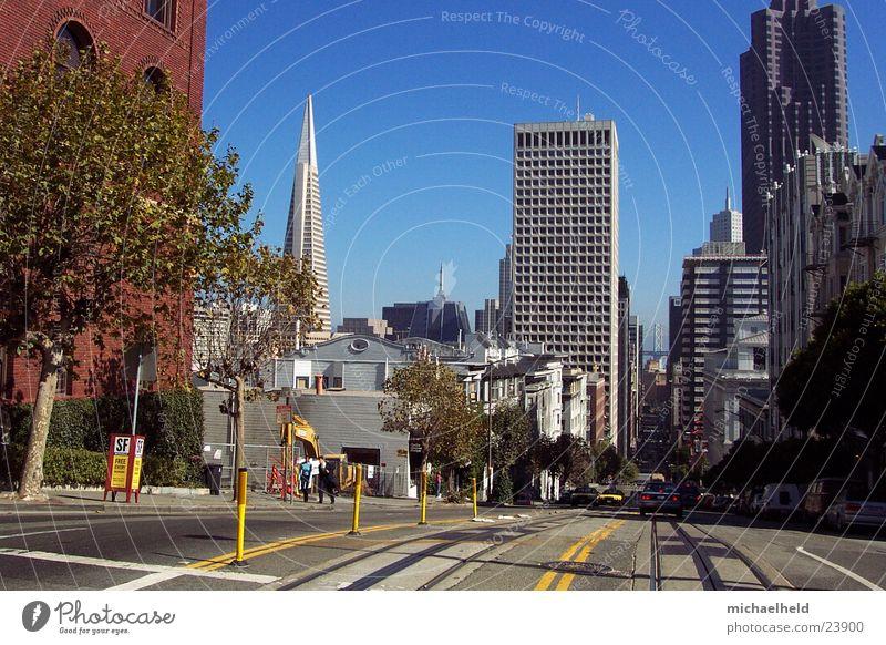 San Francisco Hochhaus Gleise Mischung Straßenbahn Nordamerika San Francisco