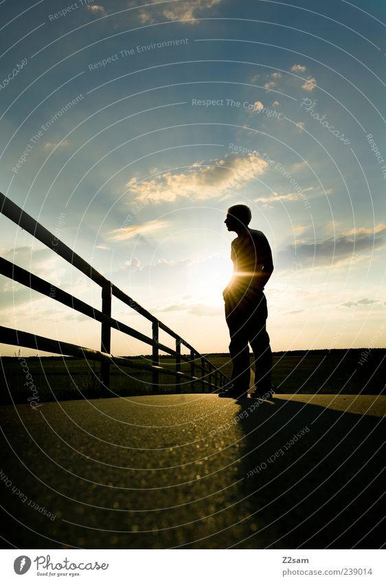 feierabend II Mensch Himmel Natur Jugendliche Sommer Erwachsene Erholung Landschaft Wege & Pfade Glück Stil Denken träumen Horizont Zufriedenheit natürlich