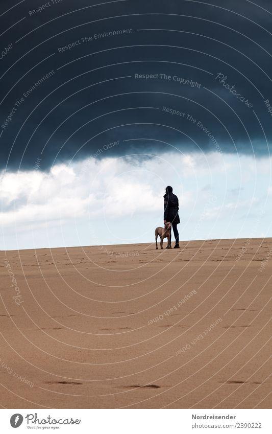Grenzüberschreitung | Hinterm Horizont gehts weiter... Frau Mensch Himmel Natur Ferien & Urlaub & Reisen Hund Landschaft Meer Tier Strand Ferne dunkel