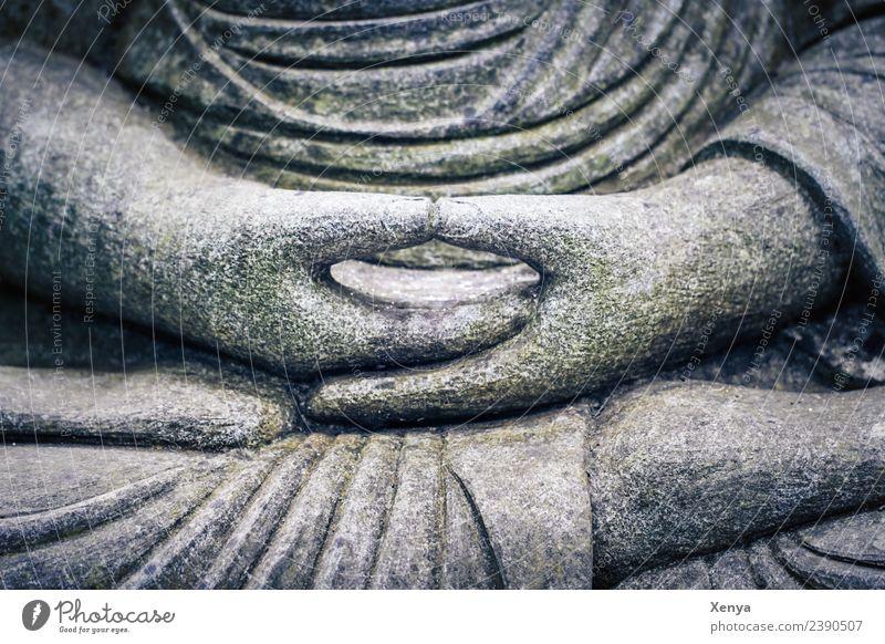 Gefaltete Hände Buddha Statue Skulptur Stein grau Gelassenheit ruhig Glaube Lotussitz Gebet Meditation Buddhismus Gedeckte Farben Außenaufnahme Menschenleer Tag