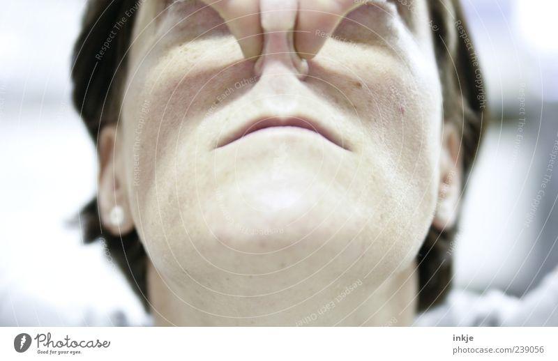 Eigenlob Mensch Leben Gefühle Kopf Luft warten außergewöhnlich Nase planen stoppen Konzentration skurril machen Duft atmen Geruch