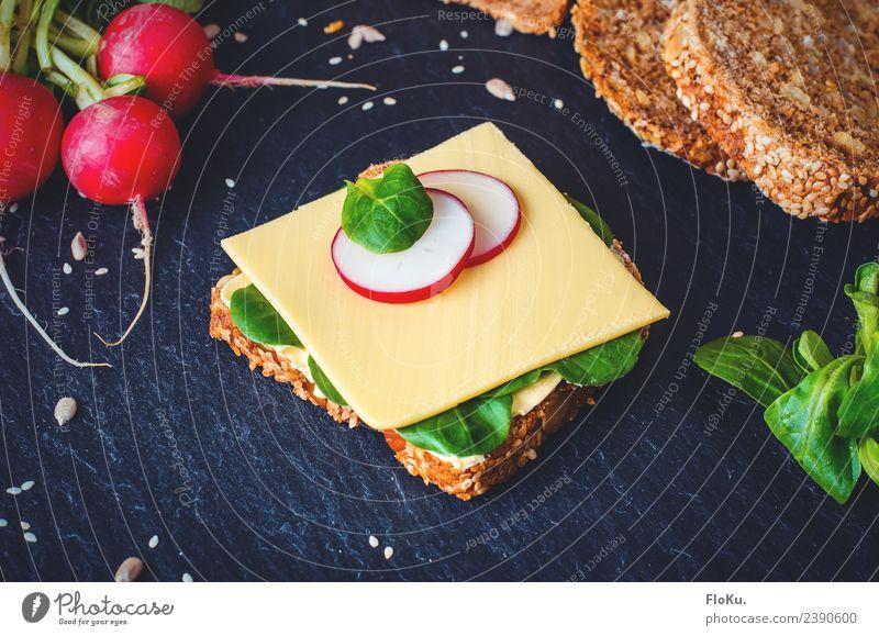 Käsebrot mit Radieschen Lebensmittel Milcherzeugnisse Gemüse Teigwaren Backwaren Brot Ernährung Frühstück Abendessen Bioprodukte Vegetarische Ernährung frisch