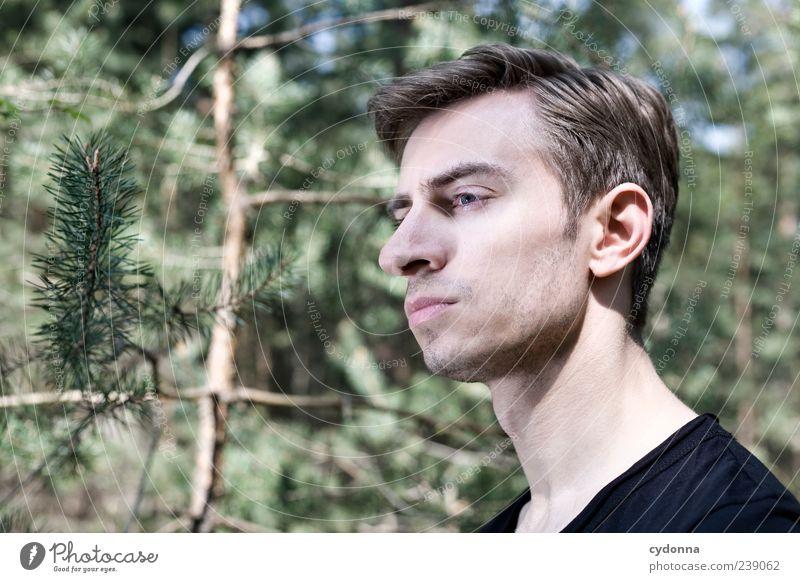 Ruhe Mensch Natur Jugendliche schön Baum Einsamkeit ruhig Erwachsene Gesicht Wald Erholung Umwelt Leben Gefühle Freiheit Stil