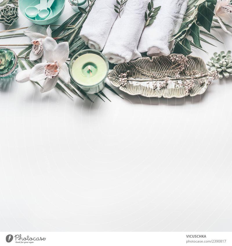 Spa und Wellness Hintergrund Stil Design schön Körperpflege Kosmetik Gesundheit Erholung Massage Wohnzimmer Duft Hintergrundbild Handtuch Pflanze Orchidee Blume