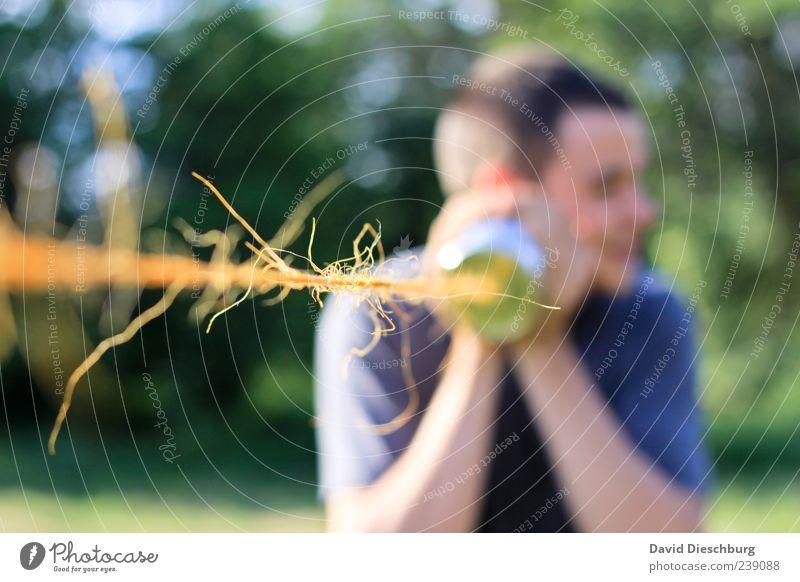 Kommunikation Mensch Jugendliche Erwachsene Leben sprechen Spielen Junger Mann 18-30 Jahre Telefon Kommunizieren Telekommunikation einzeln Technik & Technologie Schnur hören Verbindung