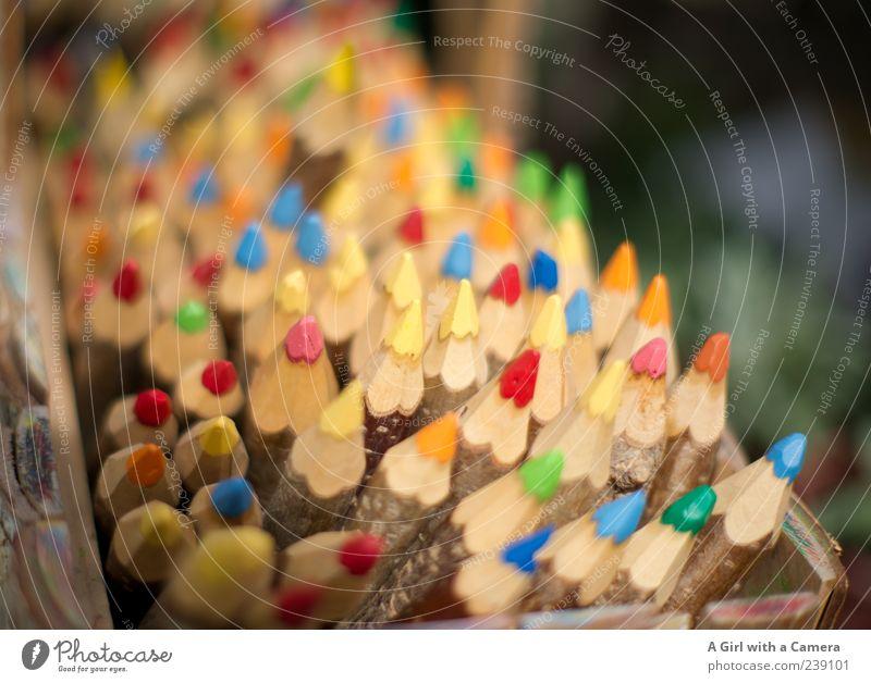 einvierteltausendundein gute Wünsche an euch Farbstift Holz zeichnen Freundlichkeit Fröhlichkeit blau mehrfarbig gelb grün rosa rot dick Naturprodukt malen