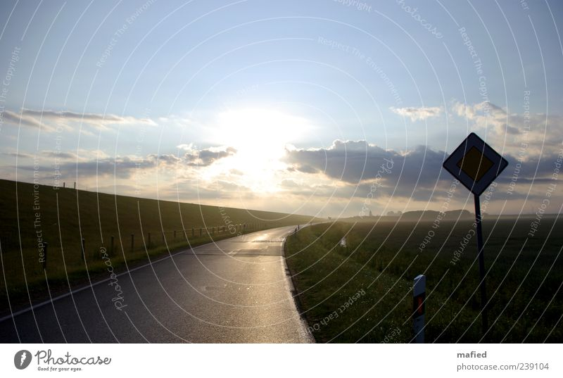 Sonntag Morgen am Deich lang Ausflug Sommer Meer Landschaft Wolken Sonne Sonnenlicht Schönes Wetter Gras Küste Straße Verkehrszeichen Verkehrsschild blau braun