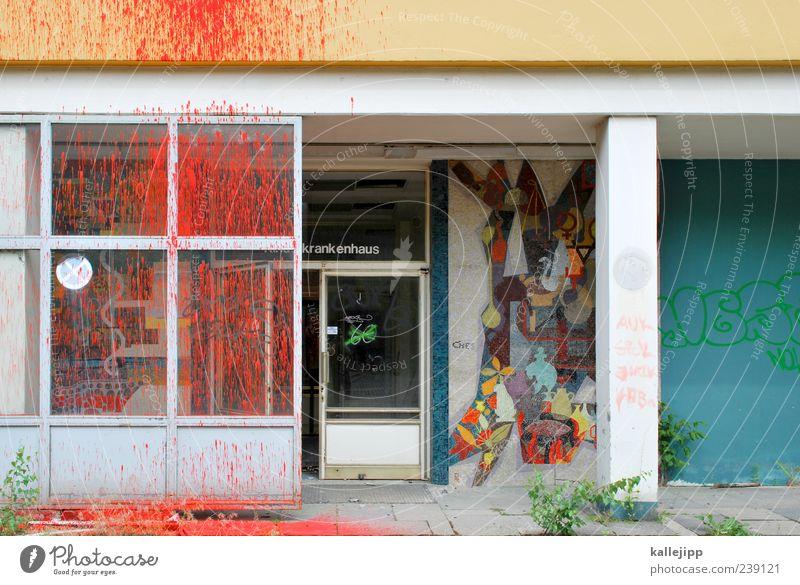 kinderkrankenhaus Arzt Gebäude Architektur Mauer Wand Tür rot spritzen Mosaik Graffiti kaputt Eingangstür Farbfoto mehrfarbig Außenaufnahme Licht Schatten