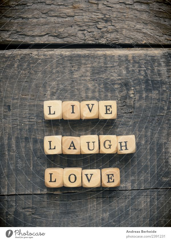 Live laugh love Leben Hintergrundbild Liebe retro Kraft Lebensfreude Symbole & Metaphern harmonisch Inspiration altehrwürdig positiv Text Puzzle Block