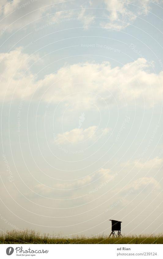 Hochsitz Himmel Natur Sommer Wolken Ferne Landschaft Gras Stimmung Sträucher stagnierend Hochsitz