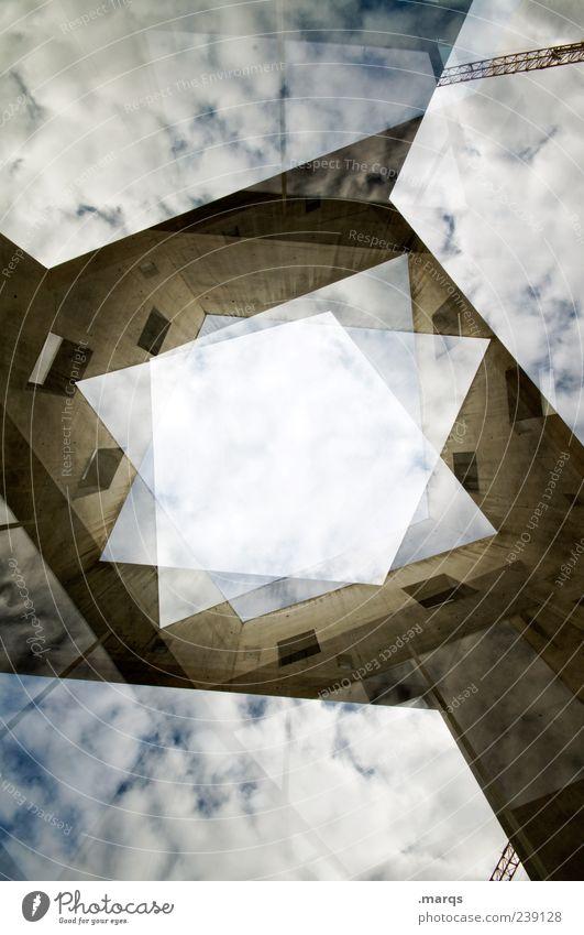 Rhombus Stil Himmel Wolken Bauwerk Gebäude Architektur Fassade hoch einzigartig modern verrückt chaotisch Fortschritt Perspektive planen Wandel & Veränderung