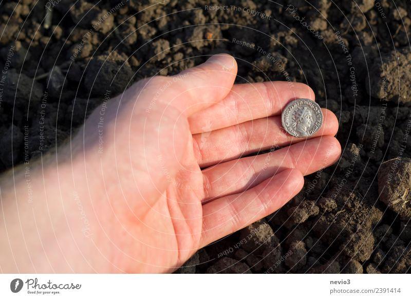 Römische Silbermünze (Denar) in der Hand eines Archäologen Arbeit & Erwerbstätigkeit Beruf Kapitalwirtschaft Business Kunst Feld Geld rund braun silber Dinar