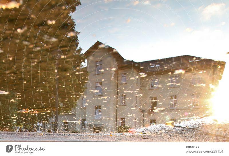 Spiegelwohnheim Landschaft Wasser Himmel Sonne Sonnenaufgang Sonnenuntergang Sommer Klima Wetter Schönes Wetter Baum Haus Bauwerk Gebäude Architektur Fassade