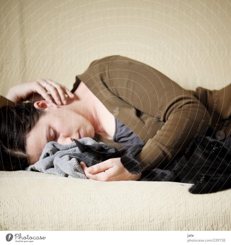 mittagsschläfchen Frau Mensch Erwachsene Tier feminin Katze träumen Freundschaft Zusammensein Wohnung liegen schlafen Sicherheit Häusliches Leben Warmherzigkeit