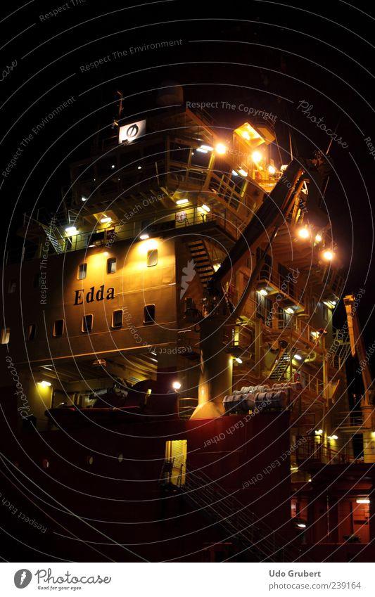 Ship Edda in Port of Wilhelmshaven Verkehrsmittel Schifffahrt Wasserfahrzeug Hafen Metall Stahl ästhetisch Perspektive Stimmung Farbfoto mehrfarbig