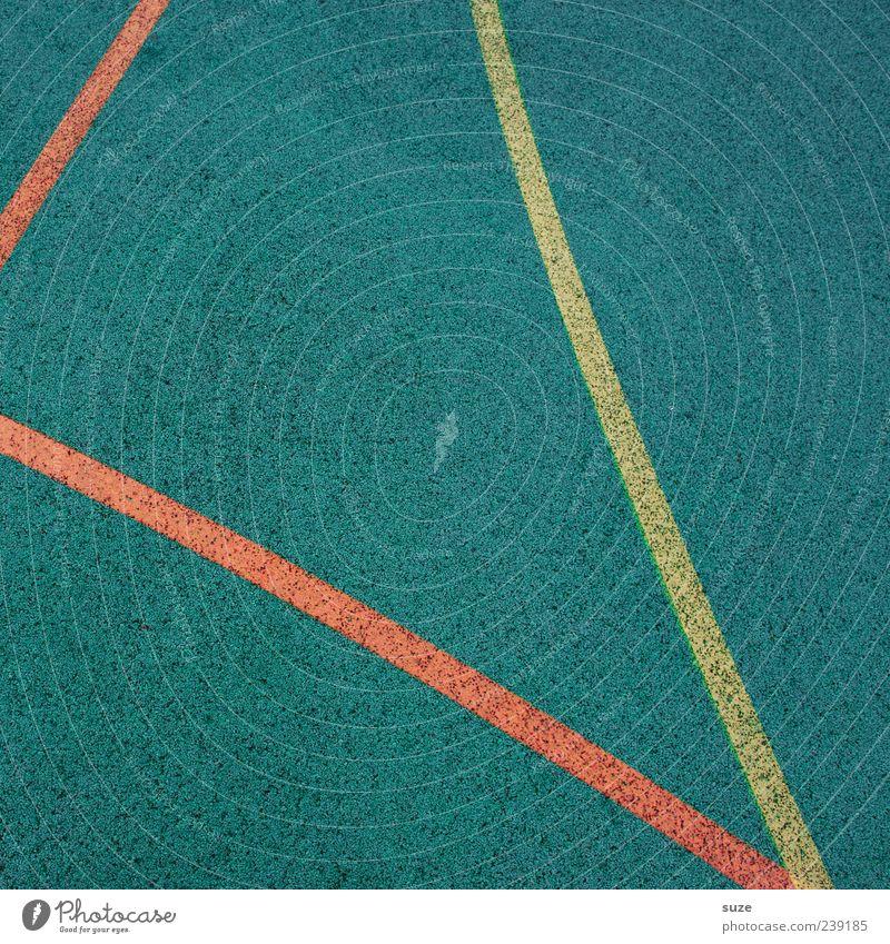 Zwei gegen einen blau rot gelb Linie Freizeit & Hobby Ordnung Schilder & Markierungen Platz Bodenbelag Spielfeld Grenze Textfreiraum graphisch Bogen Gummi