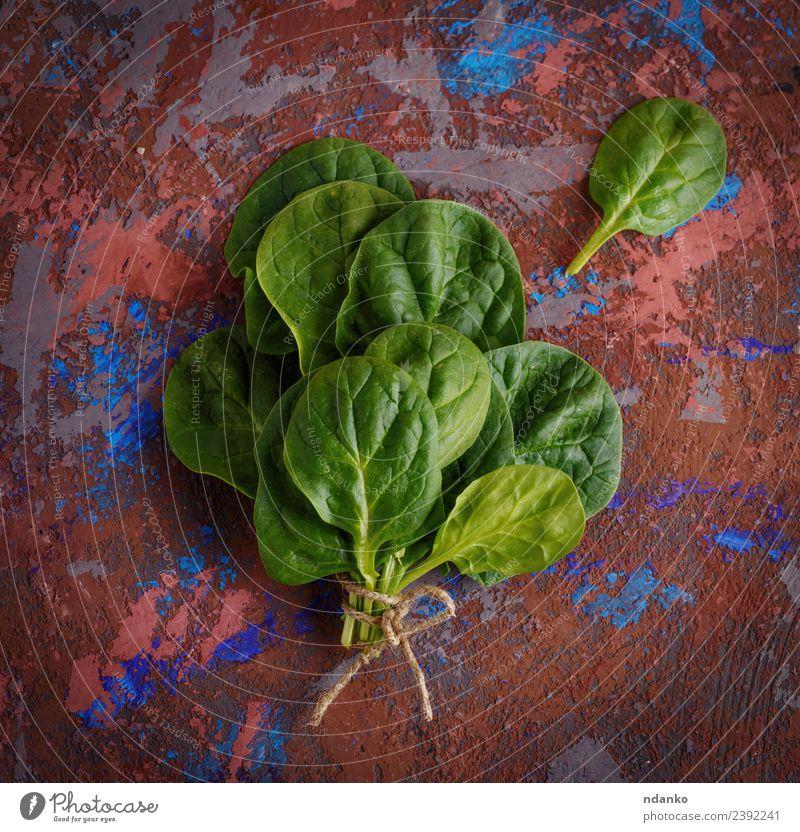 Bund grüner Spinatblätter Gemüse Salat Salatbeilage Ernährung Vegetarische Ernährung Diät Tisch Natur Pflanze Blatt frisch natürlich Gesundheitswesen roh