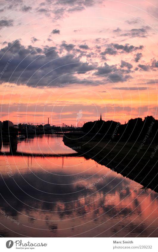 Soul of Dawn Himmel Wolken Brücke Romantik Ewigkeit Skyline Flussufer Abenddämmerung Umweltverschmutzung Industrieanlage bevölkert Wasserspiegelung