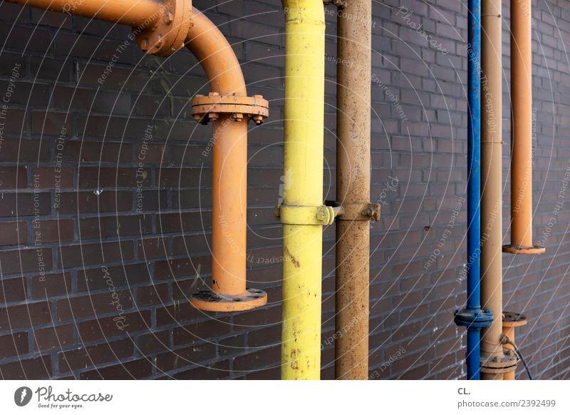 rohre Arbeit & Erwerbstätigkeit Beruf Baustelle Wirtschaft Industrie Mittelstand Industrieanlage Fabrik Mauer Wand Röhren Rohrleitung komplex industriell