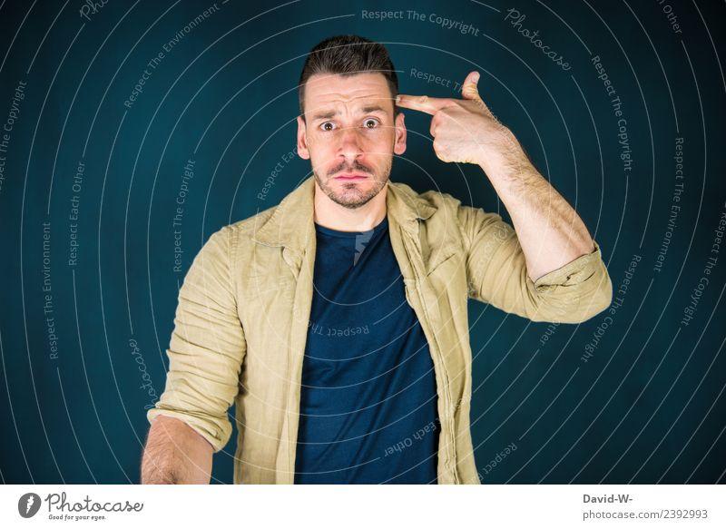 burnout Mensch Jugendliche Mann Junger Mann Hand 18-30 Jahre Erwachsene Leben Business Kunst Schule Kopf maskulin lernen gefährlich Studium