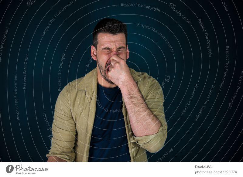 was für ein Gestank Mensch Jugendliche Mann Junger Mann Gesicht Erwachsene Lifestyle Leben Gesundheit Kunst maskulin Nase Fisch Krankheit Rauchen Müll