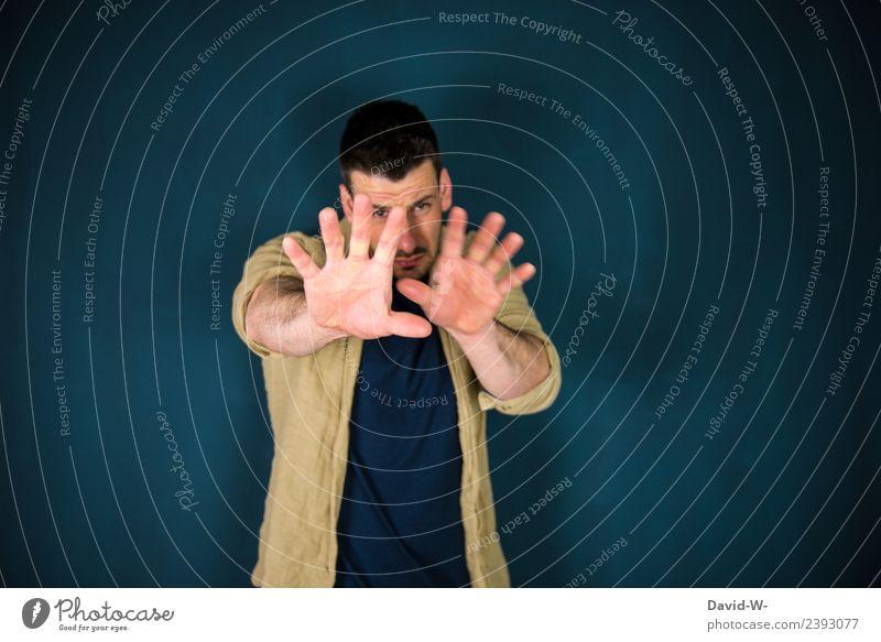 bitte nicht Körper Krankheit Mensch maskulin Junger Mann Jugendliche Erwachsene Leben 1 Kommunizieren achtsam Wachsamkeit Angst gefährlich Nervosität