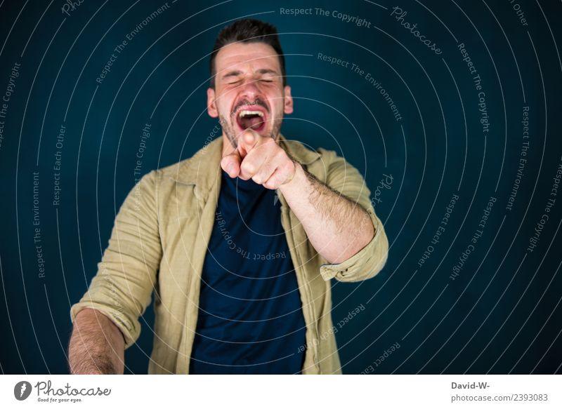 ich kann nicht mehr Freude Leben harmonisch Zufriedenheit Karneval Werbebranche Business Mensch maskulin Junger Mann Jugendliche Erwachsene Finger 1