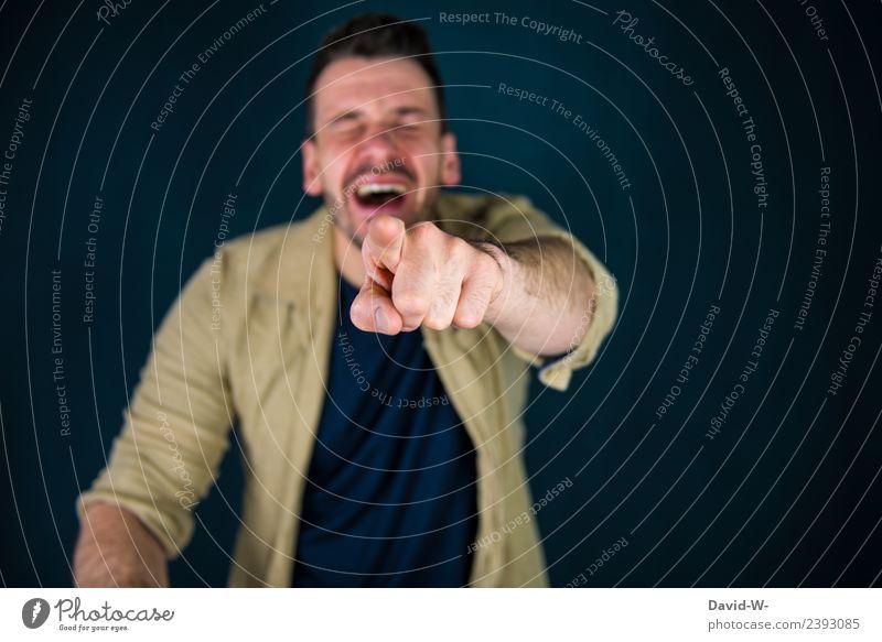 ich schmeiß mich weg Lifestyle Stil Design Mensch maskulin Junger Mann Jugendliche Erwachsene Leben Finger 1 lachen frech Fröhlichkeit lustig ignorant