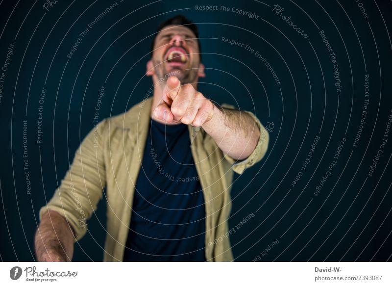 auslachen Mensch Jugendliche Mann Junger Mann Hand Freude 18-30 Jahre Erwachsene Lifestyle Leben Gefühle Business maskulin Bildung zeigen