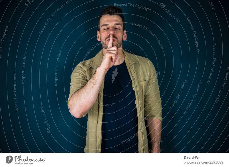 psst leise Mensch Jugendliche Mann Junger Mann Erholung ruhig Erwachsene Lifestyle Leben sprechen Business maskulin elegant Finger geheimnisvoll Meditation