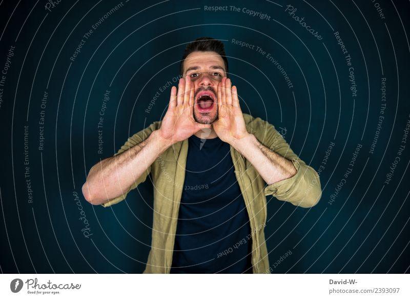 rufen Mensch Jugendliche Mann Junger Mann Hand Erwachsene Lifestyle Leben sprechen Stil Business maskulin elegant Kommunizieren Mund Bildung
