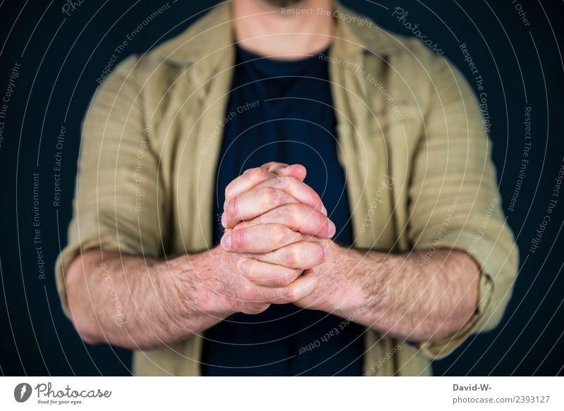 beten Mensch Jugendliche Mann Junger Mann Hand ruhig Erwachsene Leben Religion & Glaube Gesundheit Traurigkeit Stil Glück maskulin Erfolg Hoffnung