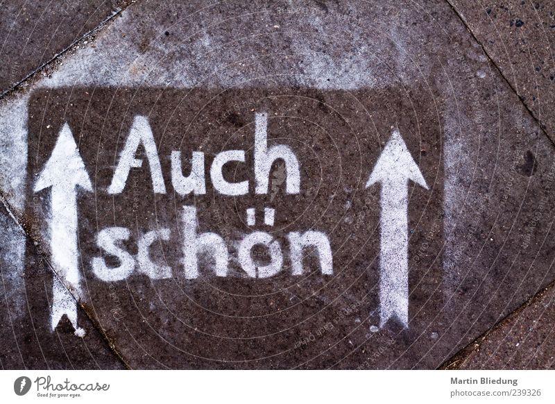 Auch schön! weiß schön schwarz Graffiti braun authentisch Beton Schriftzeichen Boden Buchstaben Zeichen Pfeil Richtung positiv trashig zusätzlich