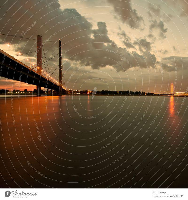 golden time Natur Ferien & Urlaub & Reisen Stadt Sommer Umwelt Landschaft Wege & Pfade Stil Wetter Verkehr Brücke Schönes Wetter Verkehrswege Flussufer Düsseldorf Fluss