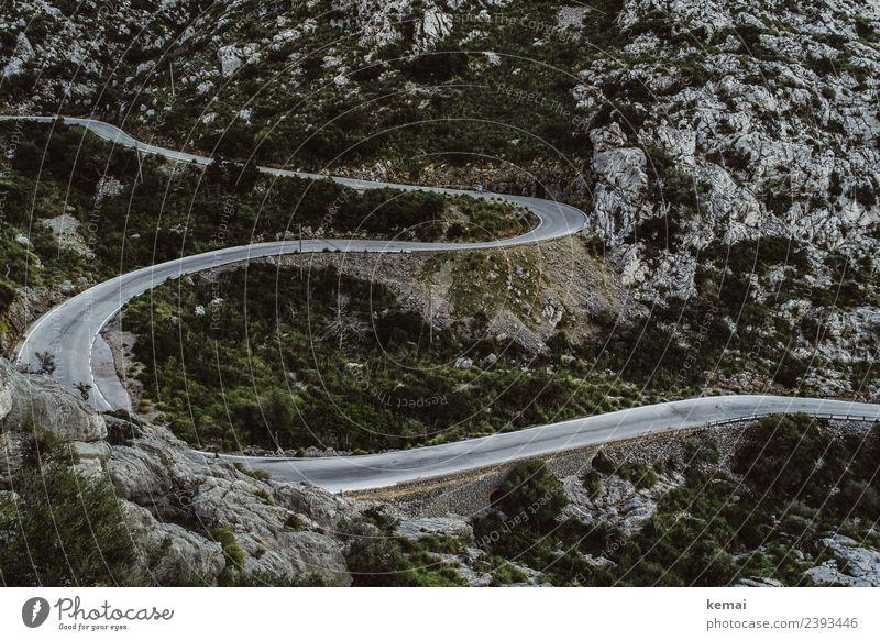 Kurvige Straße Freizeit & Hobby Ferien & Urlaub & Reisen Ausflug Abenteuer Freiheit Landschaft Sträucher Wildpflanze Hügel Felsen Berge u. Gebirge Stein