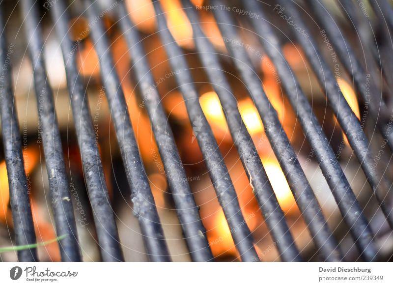 Angrillen Wärme Metall hell Linie leer Feuer leuchten heiß Gitter Grill Glut Grillrost Kohle Detailaufnahme Grillkohle Grillsaison