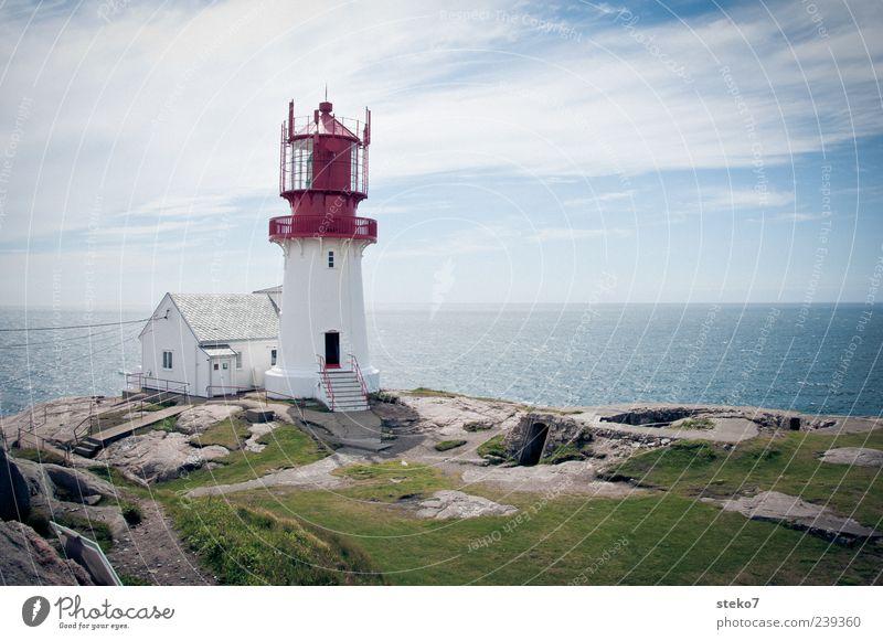 Südkap Himmel blau weiß grün Ferien & Urlaub & Reisen rot Meer Haus Ferne Freiheit Küste Horizont Sicherheit Leuchtturm Norwegen Gebäude