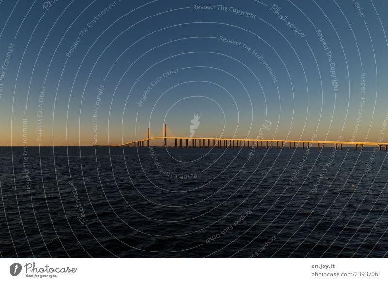 überqueren Natur Ferien & Urlaub & Reisen Sommer Wasser Landschaft Meer Ferne Umwelt Traurigkeit Wege & Pfade Horizont USA Brücke Güterverkehr & Logistik