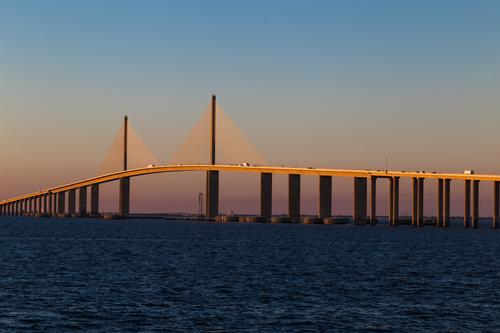 Sunshine Skyway Bridge Ferien & Urlaub & Reisen Sommer Meer Ferne Architektur Umwelt Tourismus Verkehr USA Geschwindigkeit Brücke Sehenswürdigkeit Bauwerk