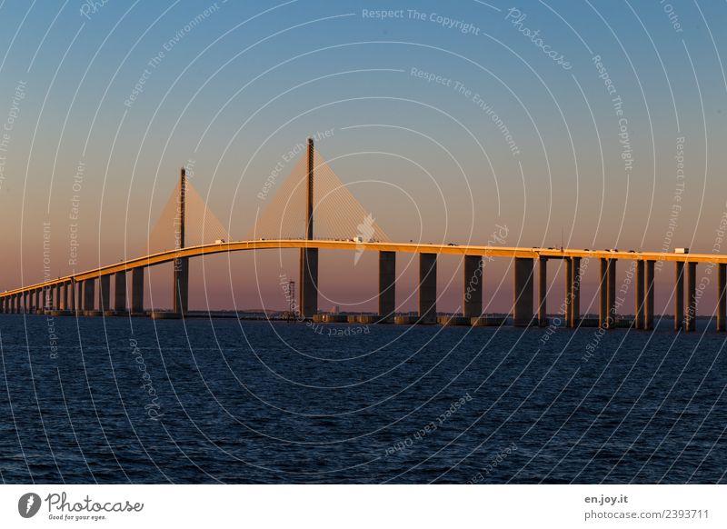 Sunshine Skyway Bridge Ferien & Urlaub & Reisen Tourismus Ferne Sommer Sommerurlaub Meer Umwelt Wolkenloser Himmel Sonnenaufgang Sonnenuntergang Tampa Florida