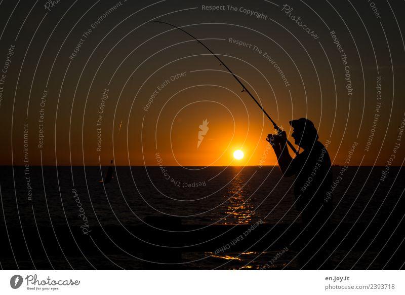 angebissen Freizeit & Hobby Angeln Ferien & Urlaub & Reisen Sommer Sommerurlaub Sonne Meer Mann Erwachsene 1 Mensch Natur Horizont Sonnenaufgang Sonnenuntergang