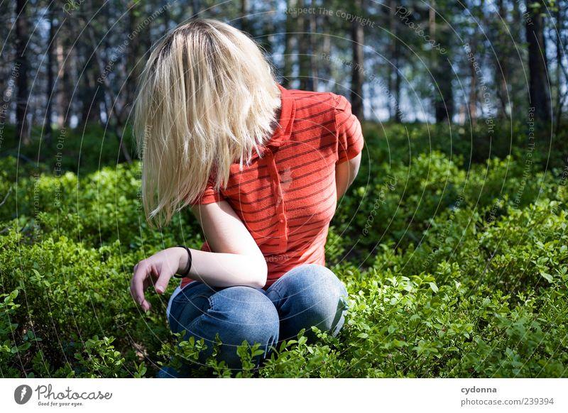 Formation Mensch Natur Jugendliche schön ruhig Erwachsene Wald Erholung Umwelt Leben Gefühle Freiheit Haare & Frisuren Stil Mode träumen