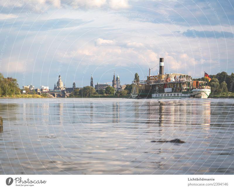 Dresden Skyline Dampfer kaufen Angeln Ferien & Urlaub & Reisen Tourismus Ausflug Sightseeing Städtereise Kreuzfahrt Sommer Wassersport Segeln Landschaft Pflanze