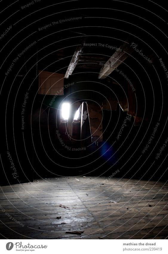 EINFACH HÄNGEN LASSEN ruhig Einsamkeit Haus dunkel Bekleidung T-Shirt Dach Hose hängen Wäsche waschen trocknen Dachboden aufhängen Wäscheleine staubig Lichtschein