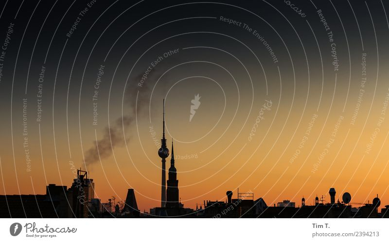 Nacht Stadt Berlin Hauptstadt Stadtzentrum Altstadt Skyline Menschenleer Haus Dach Sehenswürdigkeit Berliner Fernsehturm Klima Stimmung Winter Farbfoto