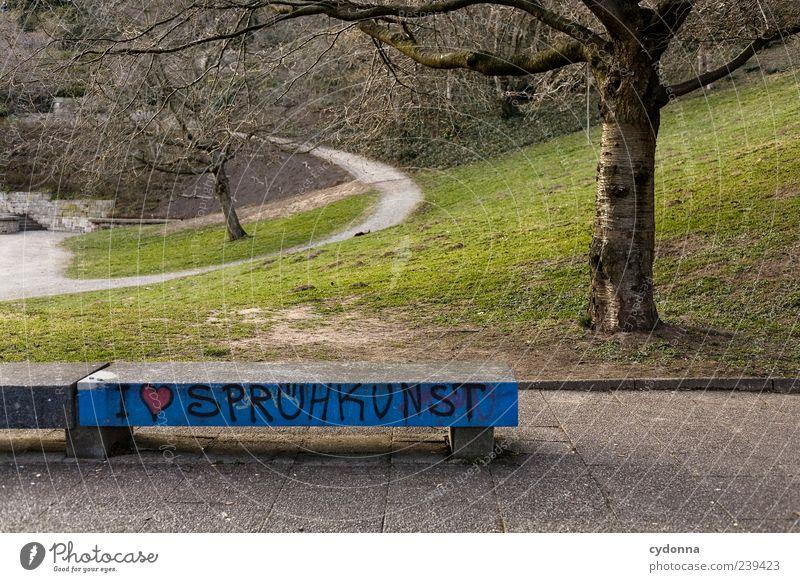 Statement Lifestyle Stil Design Freizeit & Hobby Ausflug Umwelt Natur Landschaft Baum Park Wiese Schriftzeichen Graffiti Herz entdecken Freiheit Idee