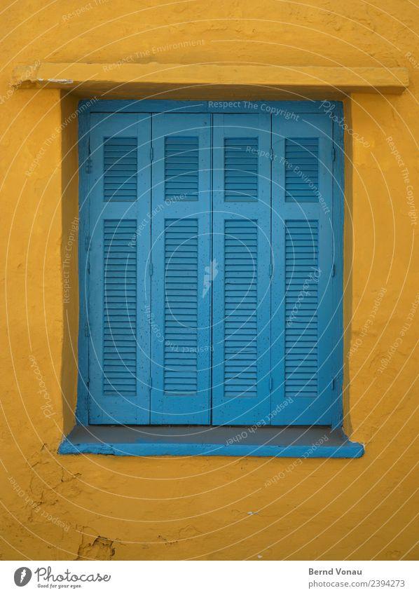 Holzfensterläden in einem griechischen Haus Ferien & Urlaub & Reisen Tourismus Sommer Sommerurlaub Kreta Griechenland Dorf Mauer Wand Fassade Fenster