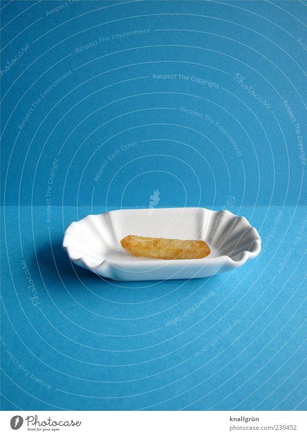 Einmal Pommes mit ohne alles weiß blau Ernährung braun klein Lebensmittel Geschirr lecker Appetit & Hunger Schalen & Schüsseln Vorfreude Fastfood eckig Snack Pommes frites gold-braun