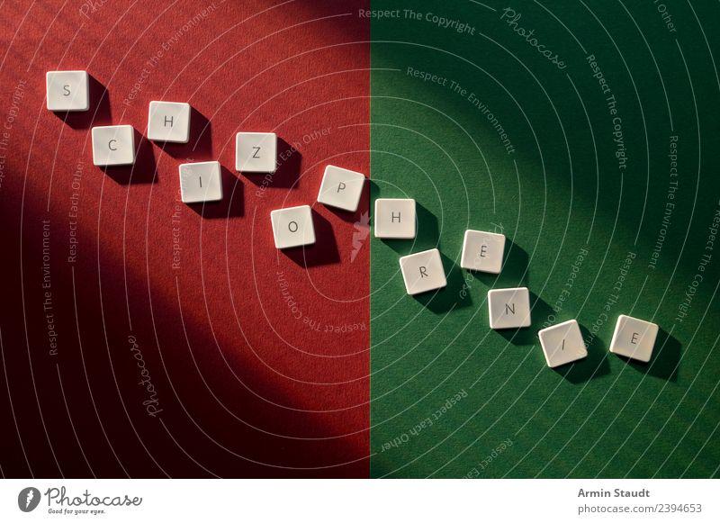Schitzophrenie Mensch grün rot Lifestyle Gesundheit Gefühle Gesundheitswesen Stil Stimmung Design Angst Schriftzeichen mehrere Zeichen Todesangst